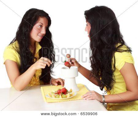 Girl Eating Chocolate Fondue