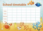 pic of school fish  - School timetable with cartoon sea animals in background - JPG