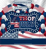 stock photo of balloon  - 4th of July Vector Design template - JPG