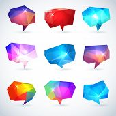 pic of prism  - Set of abstract speech bubbles or talk balloons of polygon prism pattern - JPG