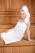 stock photo of sauna woman  - Beautiful woman in sauna - JPG