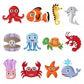 stock photo of seahorses  - A vector illustration of marine animal icon sets - JPG