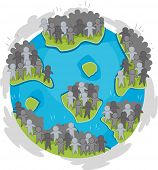 stock photo of overpopulation  - Illustration of a Globe with Large Groups of Humans Scattered Around - JPG