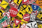 foto of truck-stop  - Many american traffic signs mixed together - JPG