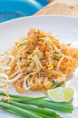 pic of egg noodles  - Noodles pad Thai is a thin rice noodles fried with tofu - JPG