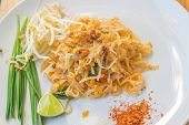 picture of egg noodles  - Noodles pad Thai is a thin rice noodles fried with tofu - JPG