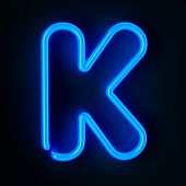 pic of letter k  - Highly detailed neon sign with the letter K - JPG