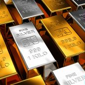 image of treasury  - Gold and Silver Bars placed next to each other with shallow depth of field - JPG