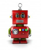 picture of neutral  - Little vintage toy robot with neutral facial expression over white background - JPG
