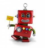 picture of goofy  - Little happy vintage toy robot holding a party sign over white background - JPG