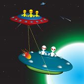 stock photo of outerspace  - Colorful illustration with two enemy alien spaceships chasing each other in space - JPG