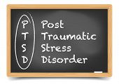 foto of aroused  - detailed illustration of a PTSD term explanation on a blackboard - JPG