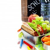 stock photo of school lunch  - school lunch and  blank chalk board over white - JPG