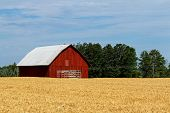 image of wagon  - A red barn with a wagon in front and hay field in the foreground - JPG