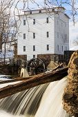 stock photo of water-mill  - The Mansfield Roller Mill a grist mill powered by the flowing waters of Indiana - JPG