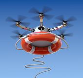 stock photo of drone  - Drone with the lifebuoy  - JPG