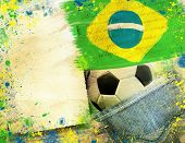 image of carnival rio  -                               Vintage photo of soccer ball and Brazil flag  - JPG