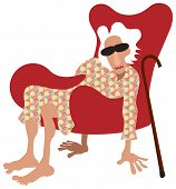 image of old lady  - Old lady sitting in armchair without legs - JPG