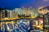 foto of typhoon  - Aberdeen Typhoon Shelter at night - JPG