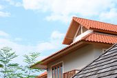 image of gable-roof  - gable roof of tropical design Thai house - JPG