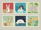 Постер, плакат: Stamps of mammal animal
