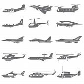 stock photo of propeller plane  - set of 15 fighting plane icons - JPG