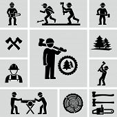 stock photo of man chainsaw  - Lumberjack icons set - JPG