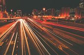 stock photo of illinois  - Late Night Traffic in Motion - JPG