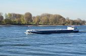 stock photo of barge  - A river barge on the Rhine. 