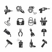 stock photo of auger  - set of 16 handy tools and household icons - JPG