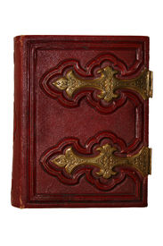 stock photo of vintage antique book  - Old dark red antique book with golden clasp and pages viewed from side - JPG