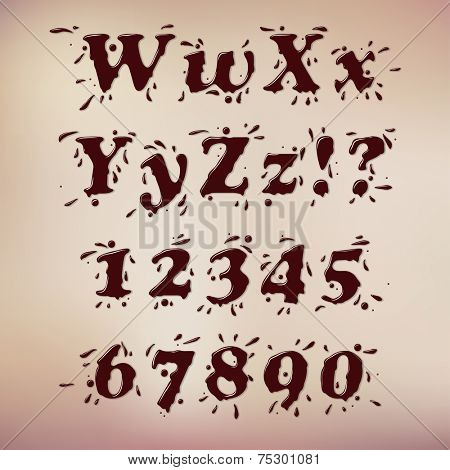 Dark Chocolate Splash Font. Set Vol.1 W-0