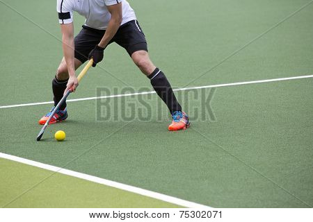 Field Hockey player, ready to pass the ball to a team mate