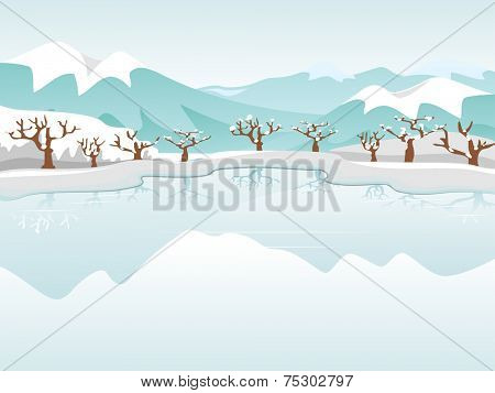 Illustration Featuring a Frozen Lake