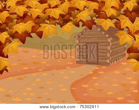Background Illustration Featuring a Log Cabin in Autumn