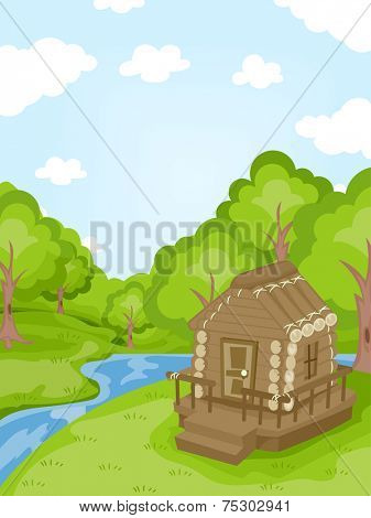 Illustration Featuring a Log Cabin Near a Stream