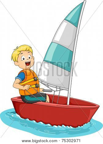 Illustration Featuring a Boy on a Sailboat