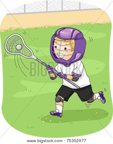 Illustration Featuring a Young Lacrosse Player