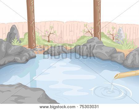 Illustration Featuring an Indoor Hot Spring