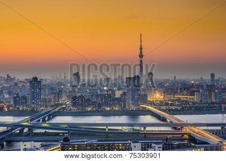 Tokyo, Japan city skyline at Sumida Ward.