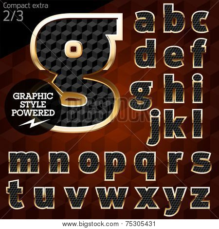 Shiny font of gold and diamond vector illustration. Compact bold. File contains graphic styles available in Illustrator