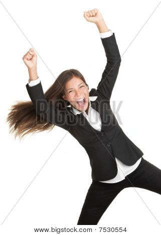 Cheerful Success Woman Isolated