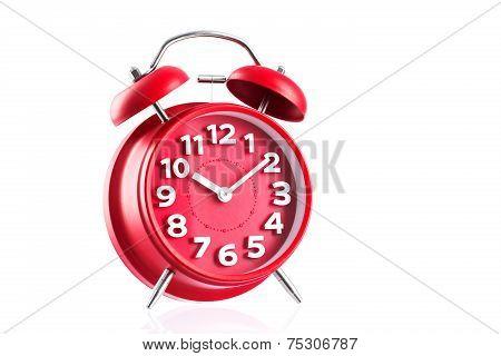 Red Alarm Clock Studio Isolated On White Background
