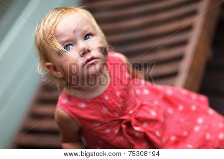 Adorable toddler girl with dirt all over her face