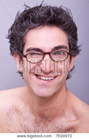 Goofy Looking Young Man In Eyeglasses