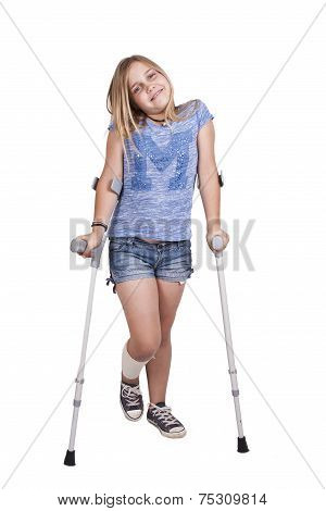 girl with crutches isolated