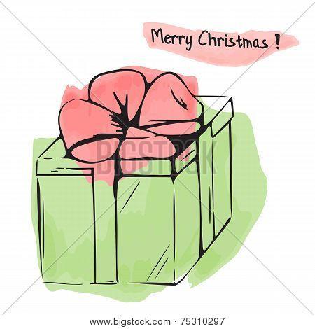 Christmas Illustration Of Watercolor Gift Box