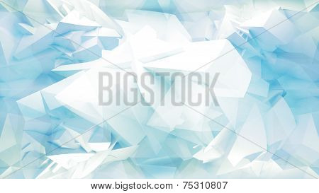 Blue Abstract 3D Background With Chaotic Polygonal Mesh