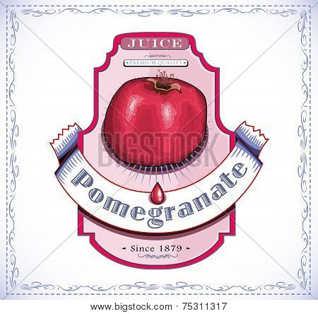 Ripe pomegranate on product label