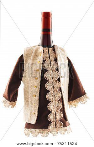Wine Bottle Dressed In European Folklore Boyar Costume
